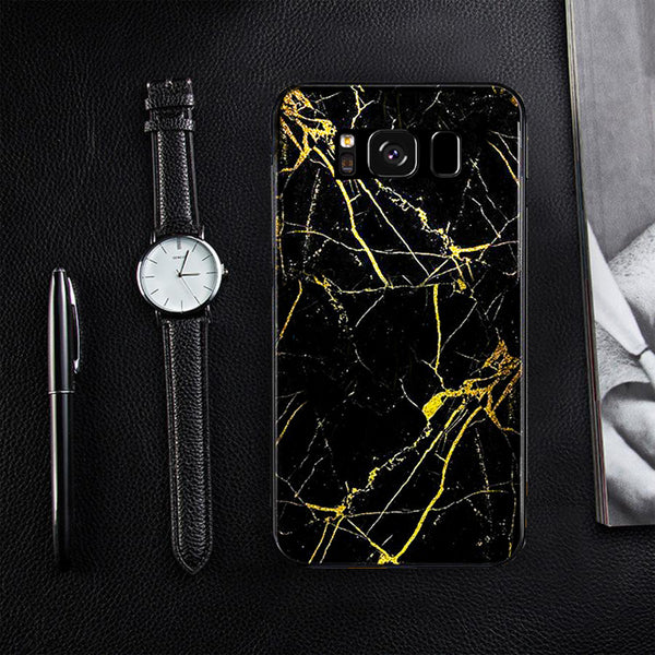 Galaxy S8 Gold Dust Texture Marble Glass Case