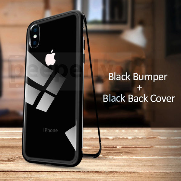 iPhone X Auto-Fit Magnetic Tempered Glass Back Case - With LOGO