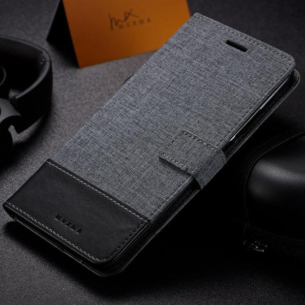 Mi A1 MUXMA Canvas Style Leather Flip Case