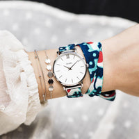 CLUSE x Mino Design Minuit Silver White​/Keys to Success CL30058 - watch on wrist