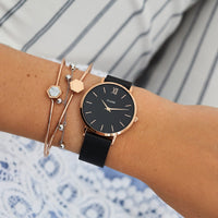 CLUSE Minuit Mesh Rose Gold Black/Black CL30064 - watch on wrist