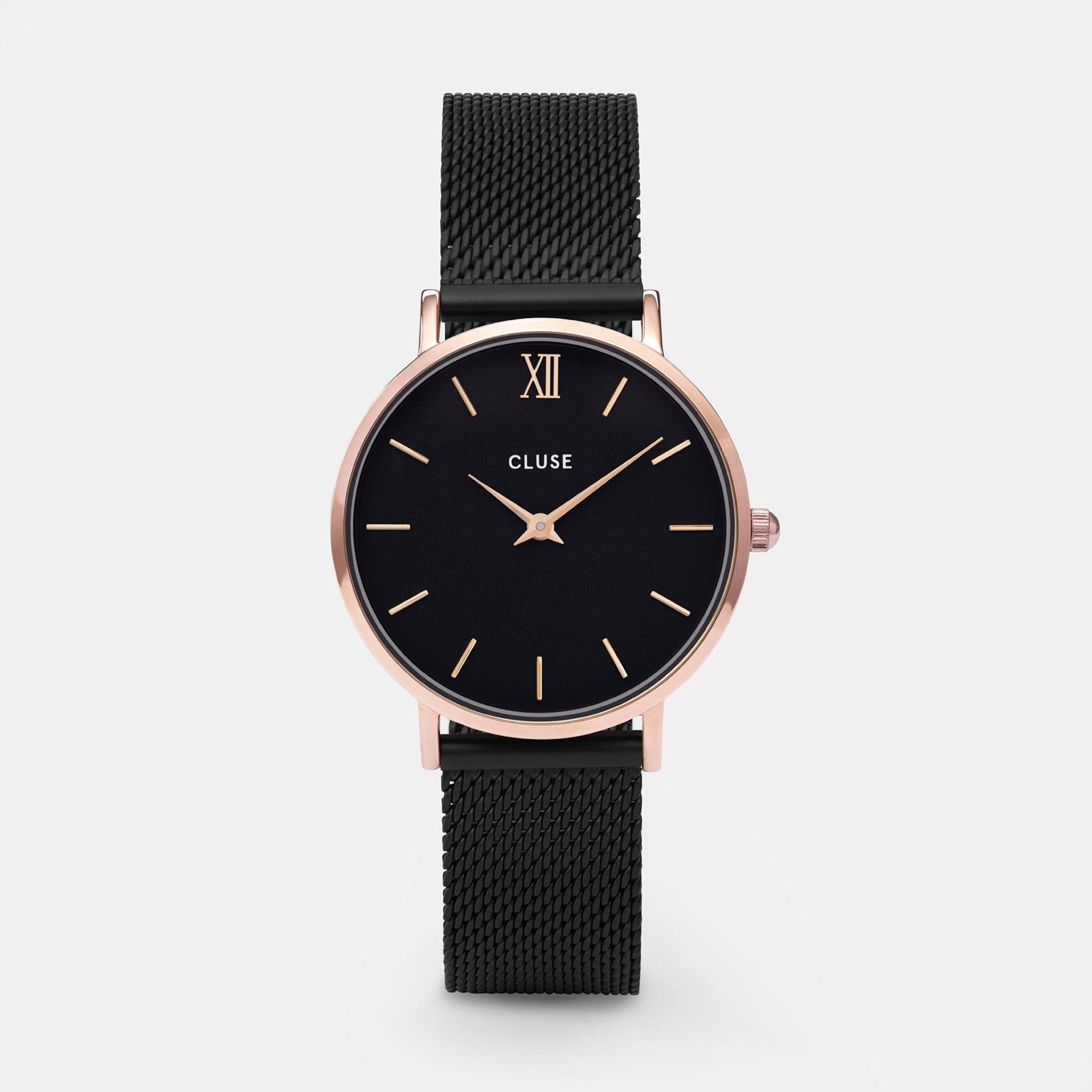 CLUSE Minuit Mesh Rose Gold Black/Black CL30064 - watch