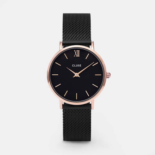 Image: CLUSE Minuit Mesh Rose Gold Black/Black CL30064 - watch