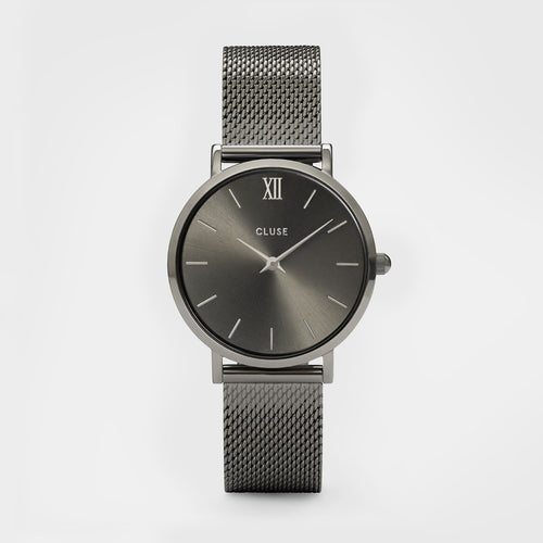 Image: CLUSE Minuit Mesh Dark Grey CL30067 - watch