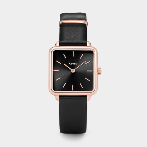 Image: CLUSE La Tétragone Rose Gold Black/Black CL60007 - watch