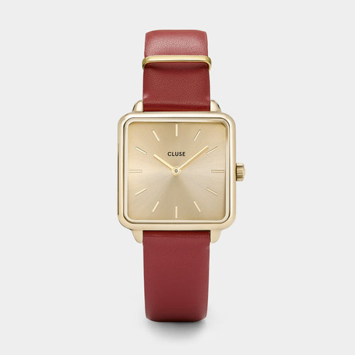 Image: CLUSE La Tétragone Gold/Scarlet Red CL60009 - watch