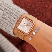 CLUSE La Tétragone Mesh Full Rose Gold CL60013 - watch on wrist