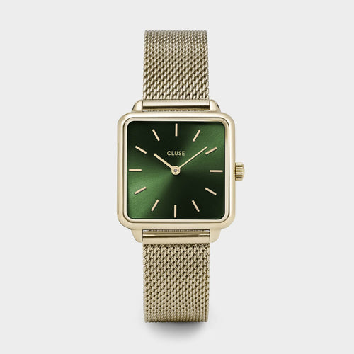 Image: CLUSE La Tétragone Mesh Gold/Forest Green CL60014 - watch
