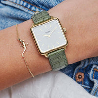CLUSE La Tétragone Gold White/Green Alligator CL60016 - Watch on wrist