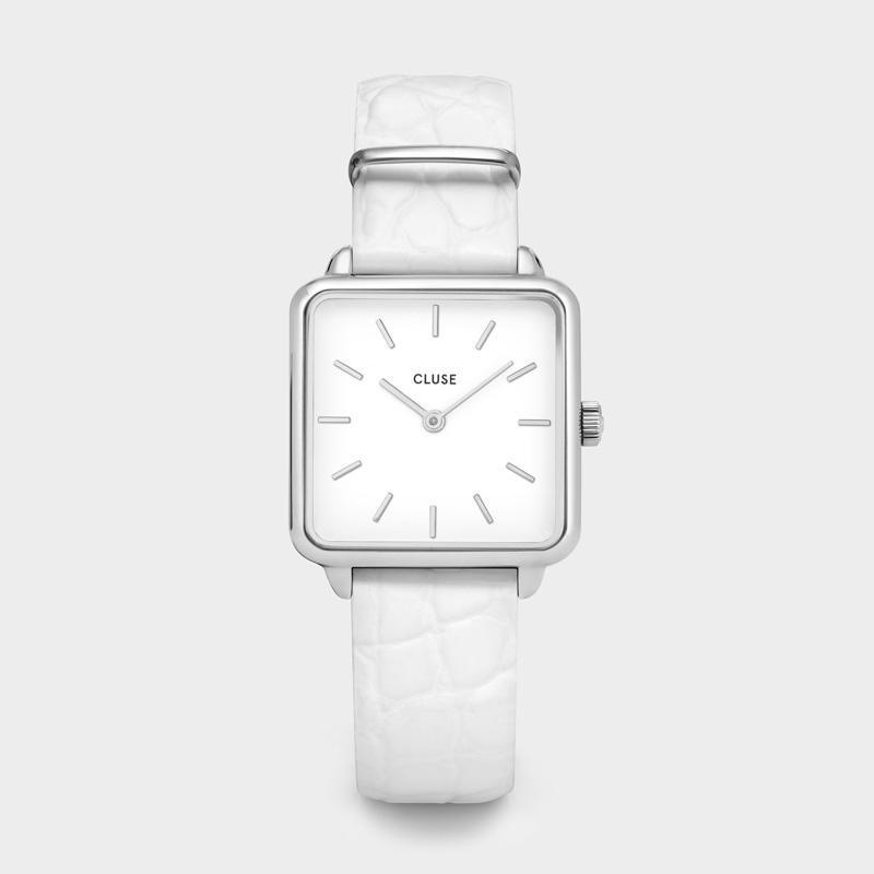 CLUSE La Tétragone Silver/White Alligator CL60017 - Watch