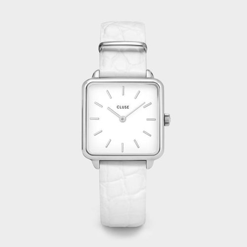 Image: CLUSE La Tétragone Silver/White Alligator CL60017 - Watch