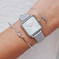 CLUSE Force Tropicale Silver Alligator Bangle Bracelet CLJ12020 - Bangle bracelet on wrist