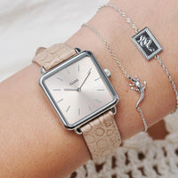CLUSE Force Tropicale Silver Twisted Chain Tag Bracelet CLJ12022 - Chain bracelet on wrist