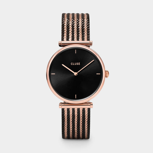 Image: CLUSE Triomphe Mesh Bicolour Rose Gold Black /Black CL61005 - watch
