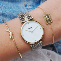 CLUSE Triomphe Gold White Pearl/Soft Almond Python CL61008 - Watch on wrist