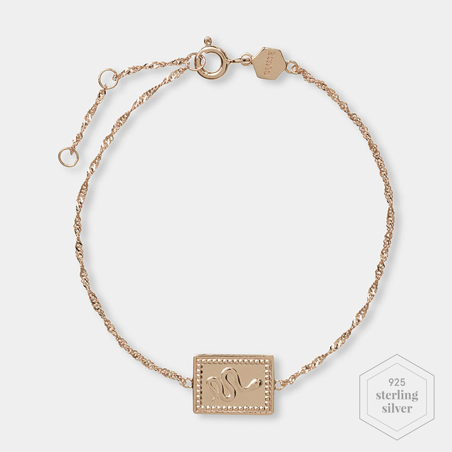 CLUSE Force Tropicale Rose Gold Twisted Chain Tag Bracelet CLJ10022 - Chain bracelet