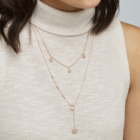 CLUSE Essentielle Rose Gold Hexagon Charm Lariat Necklace CLJ20013 - Necklace on neck
