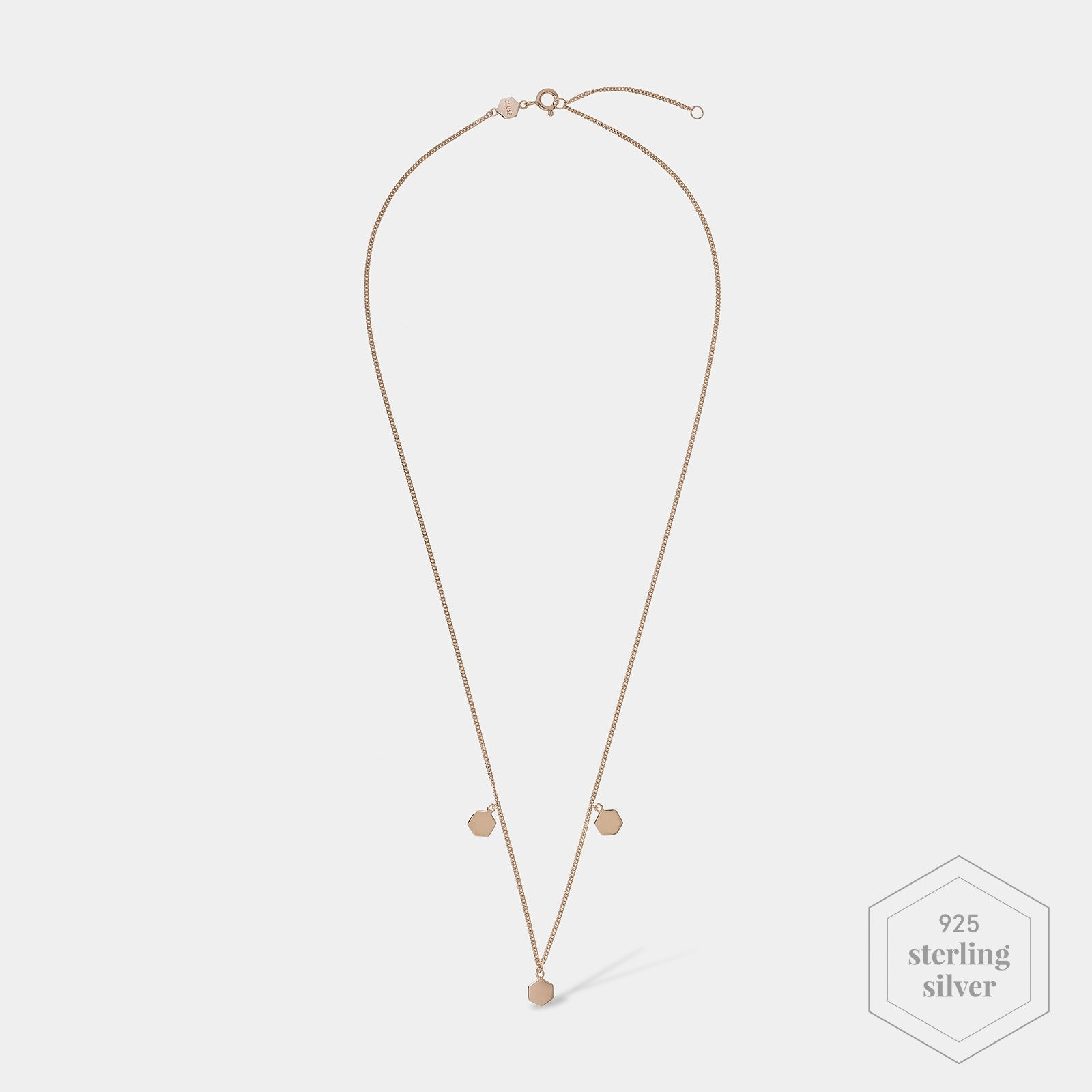 CLUSE Essentielle Rose Gold Three Hexagon Charms Necklace CLJ20012 - Necklace