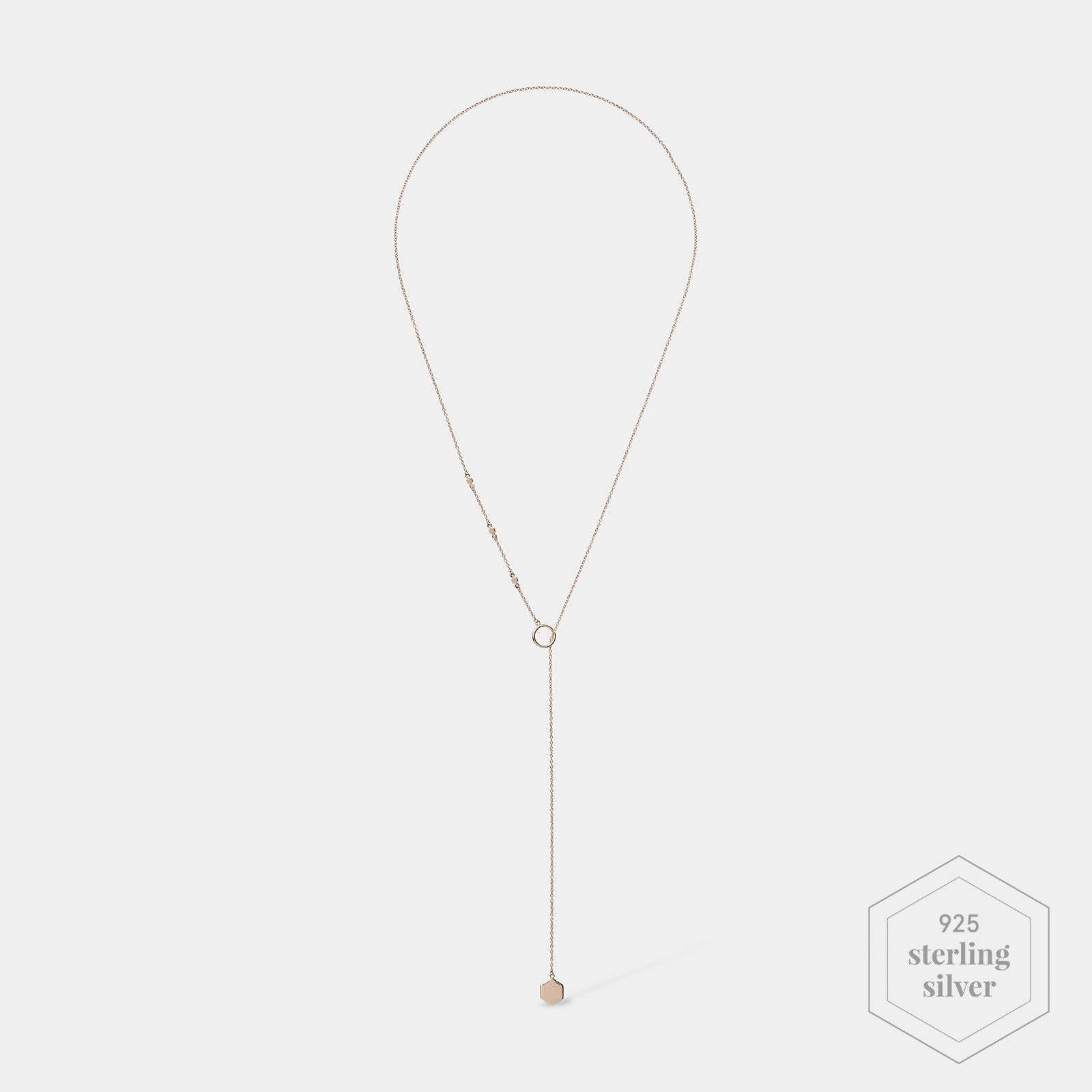 CLUSE Essentielle Rose Gold Hexagon Charm Lariat Necklace CLJ20013 - Necklace