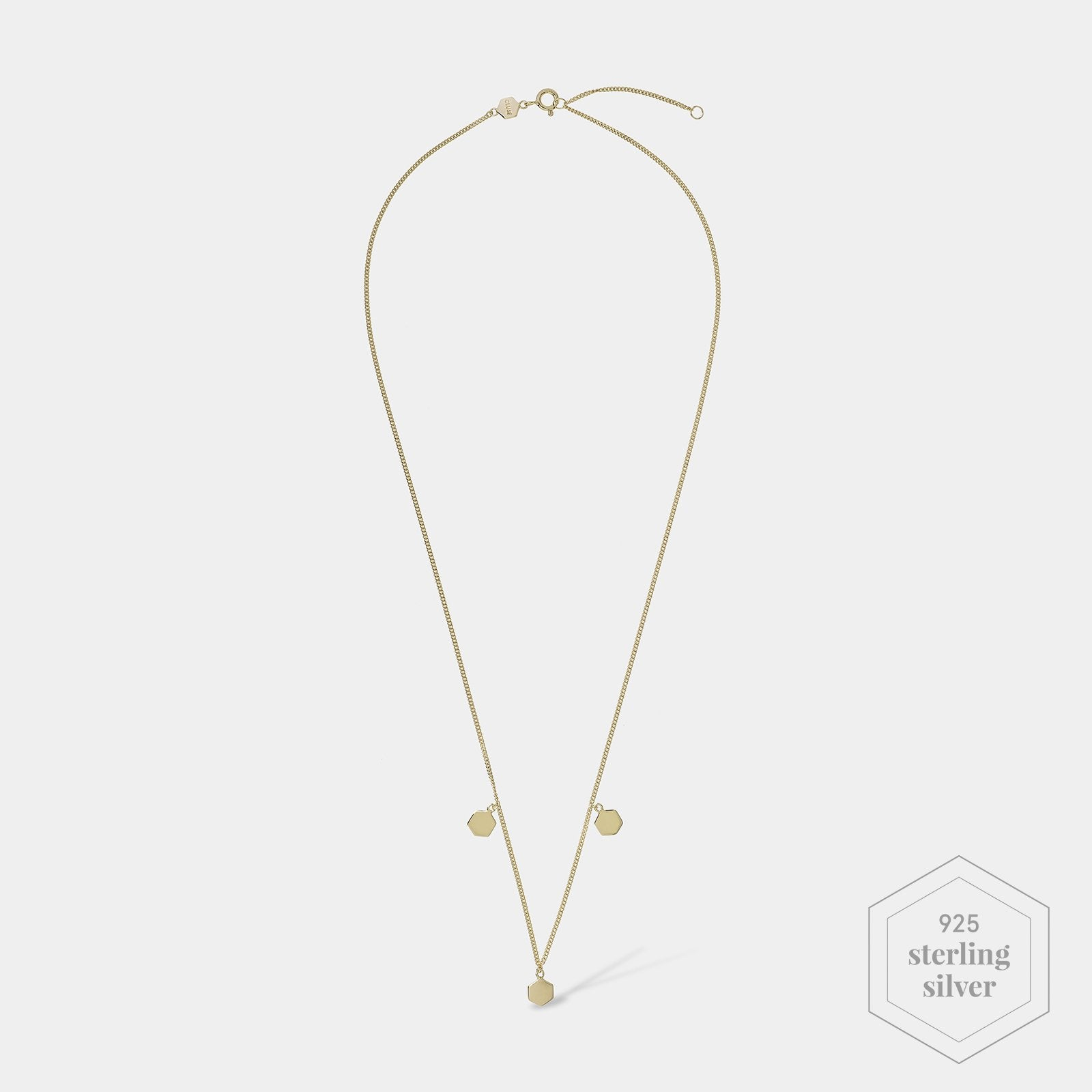 CLUSE Essentielle Gold Three Hexagon Charms Necklace CLJ21012 - Necklace