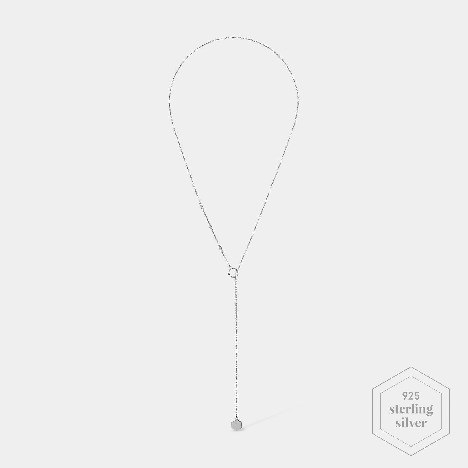 CLUSE Essentielle Silver Hexagon Charm Lariat Necklace CLJ22013 - Necklace