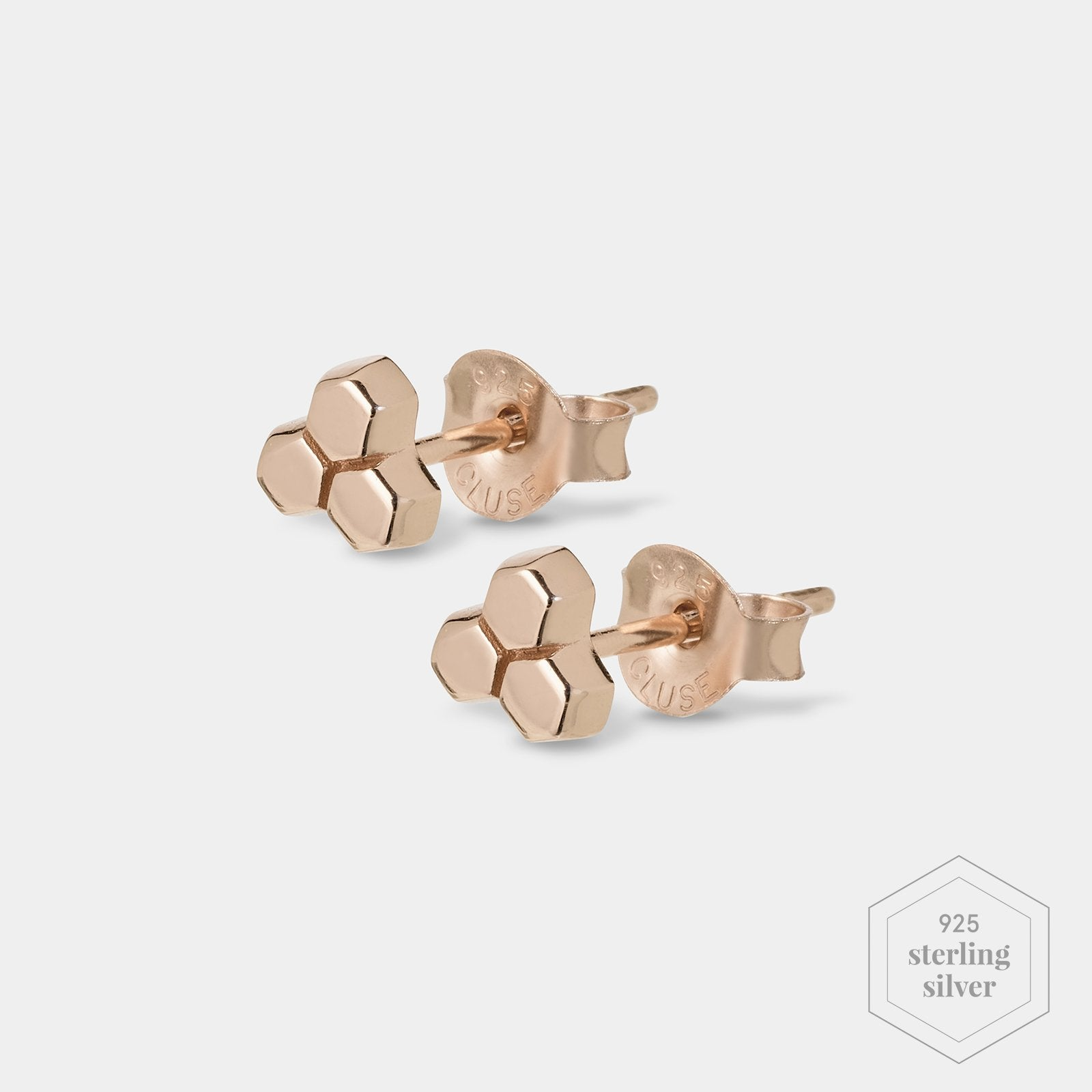 CLUSE Essentielle Rose Gold Three Hexagon Stud Earrings CLJ50017 - Earrings