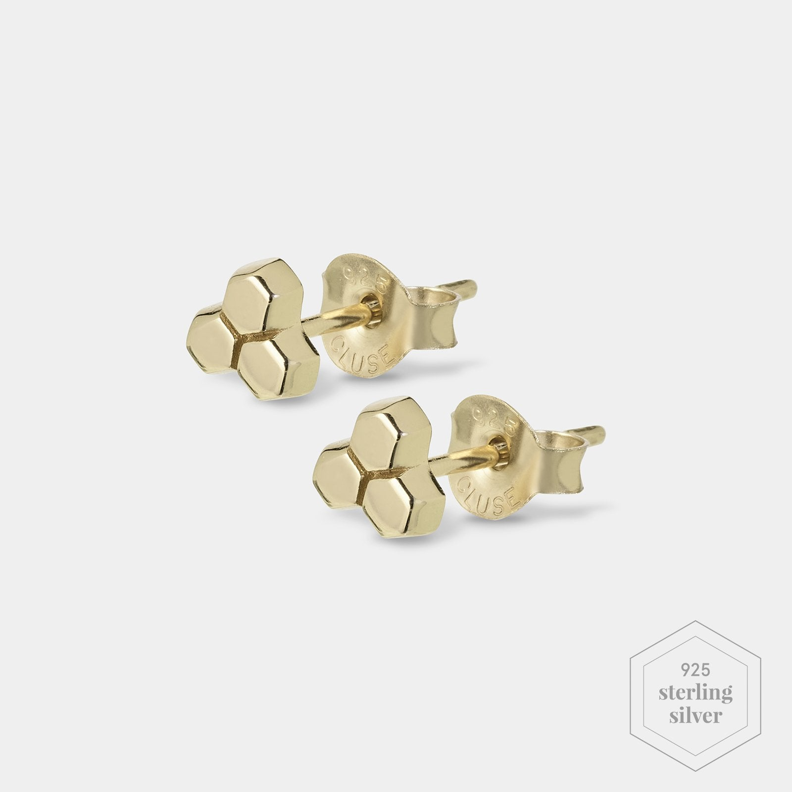 CLUSE Essentielle Gold Three Hexagon Stud Earrings CLJ51017 - Earrings