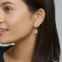 CLUSE Force Tropicale Gold Hoop Tag Pendant Earrings CLJ51019 - Earrings on ear