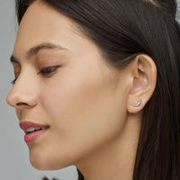 CLUSE Force Tropicale Silver Alligator Stud Earrings CLJ52018 - Earrings on ear