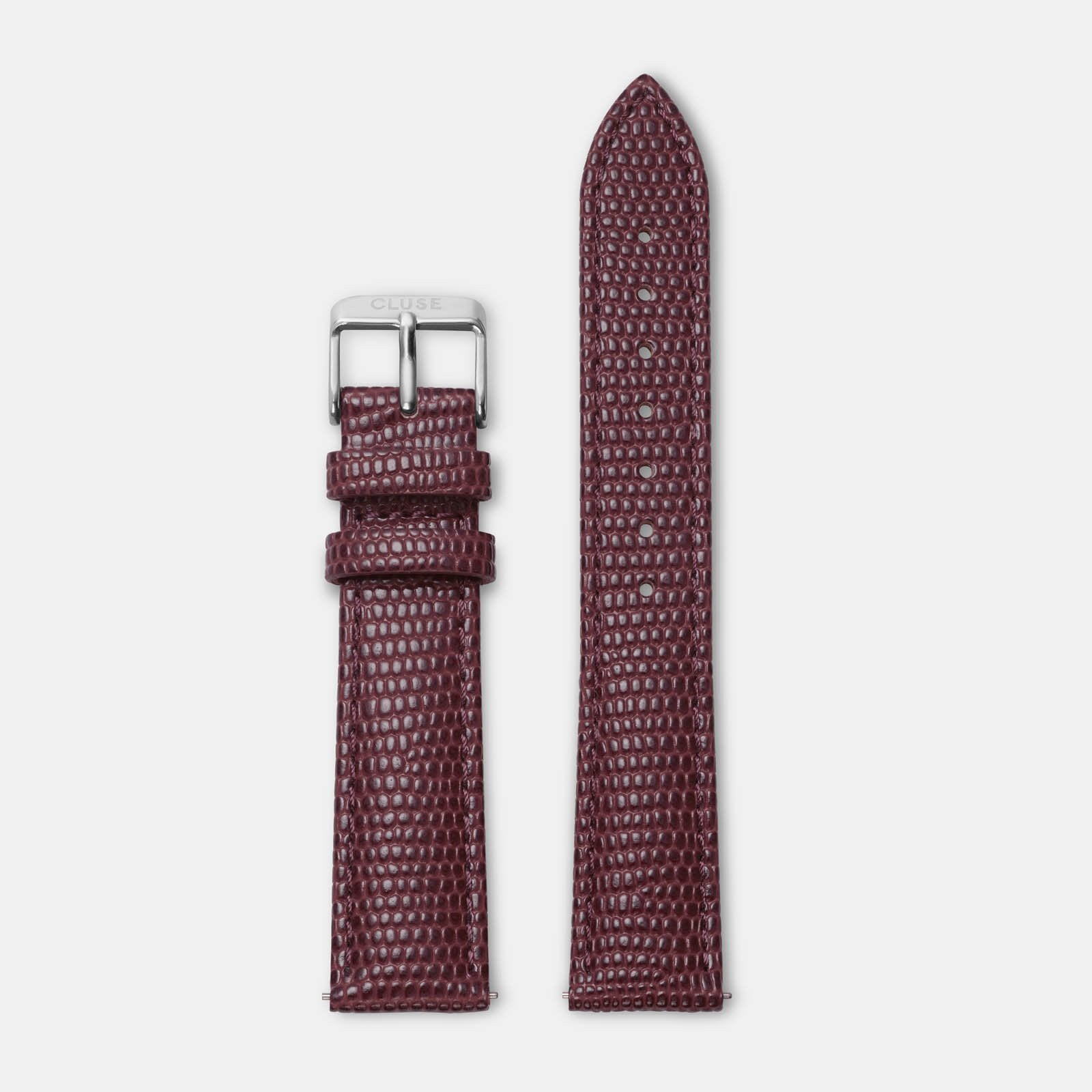 CLUSE 18 mm Strap Burgundy Lizard/Silver CLS078 - strap