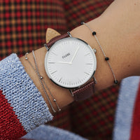 CLUSE 18 mm Strap Burgundy Lizard/Silver CLS078 - watch