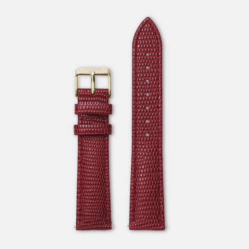 Image: CLUSE 18 mm Strap Deep Red Lizard/Gold CLS082 - strap