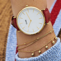 CLUSE 18 mm Strap Deep Red Lizard/Gold CLS082 - watch
