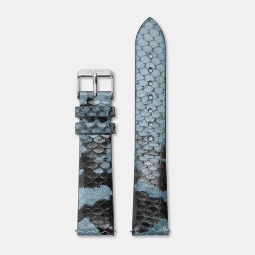 Image: CLUSE 18 mm Strap Blue Python/Silver CLS084 - Strap