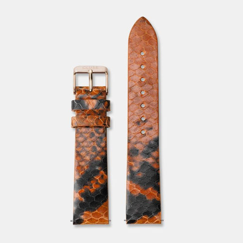 Image: CLUSE 18 mm Strap Orange Python/Rose Gold CLS086 - Strap
