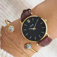 CLUSE 16 mm Strap Burgundy Lizard/Gold CLS379 - watch