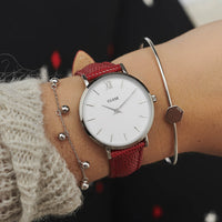CLUSE 16 mm Strap Deep Red Lizard/Silver CLS381 - watch