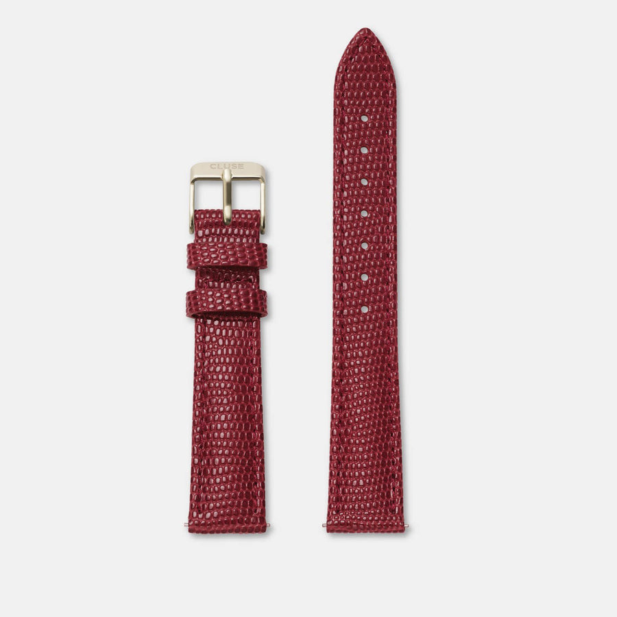 16 mm Strap Deep Red Lizard/Gold