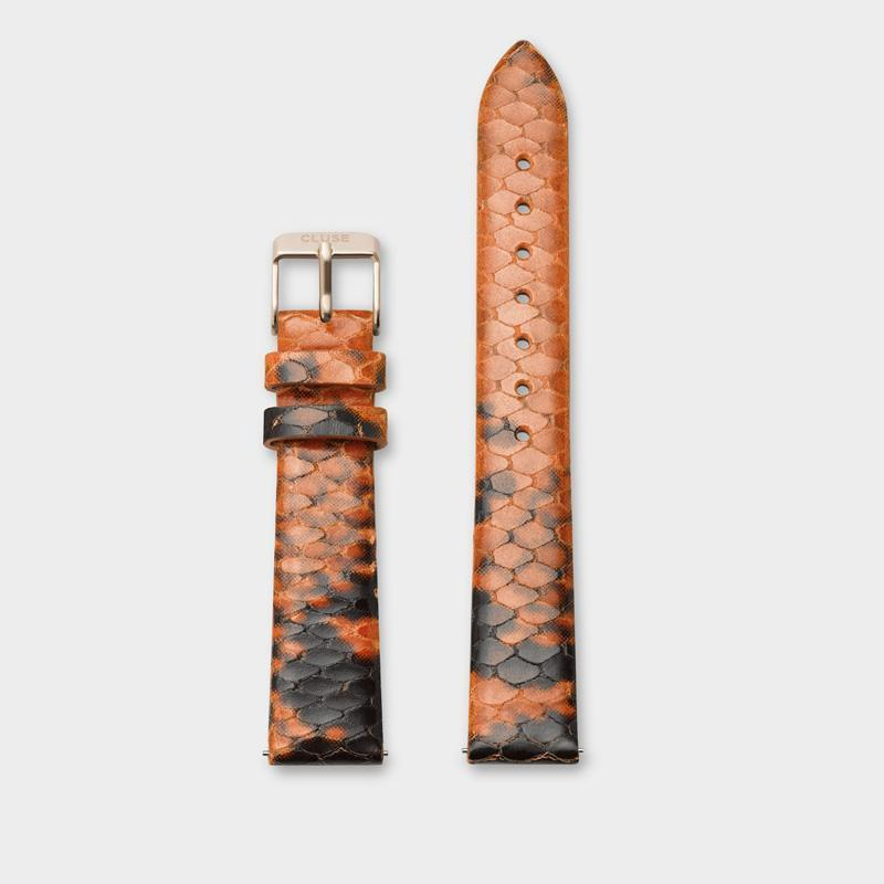 CLUSE 16 mm Strap Orange Python/Rose Gold CLS386 - Strap