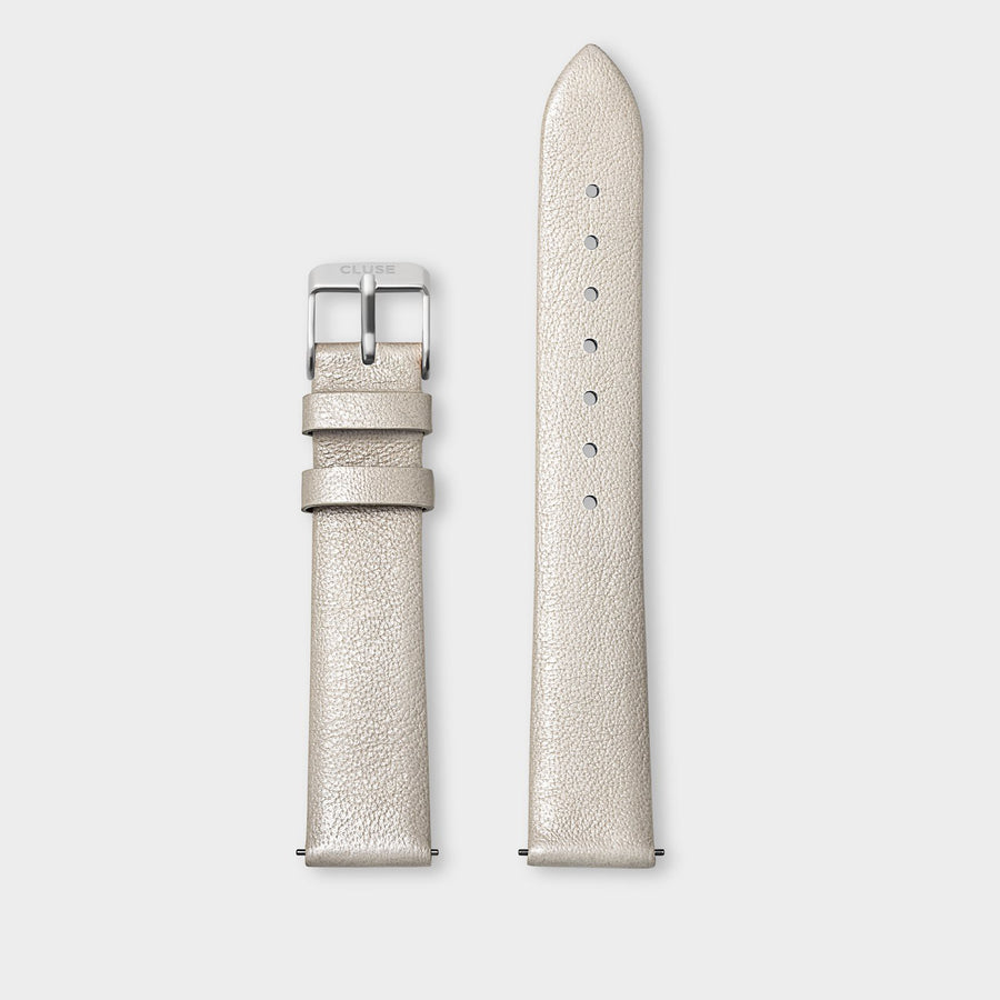 CLUSE Strap 16 mm Leather Warm White Metallic/ Silver - Strap