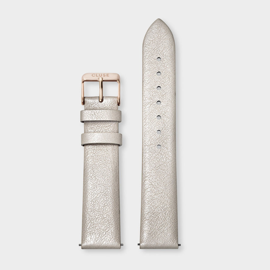 CLUSE Strap 18 mm Leather Warm White Metallic/ Rose Gold - Strap