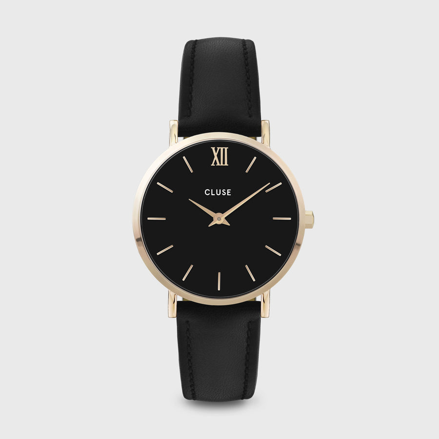 CLUSE Minuit Leather Gold Black/Black CW0101203019 - Watch