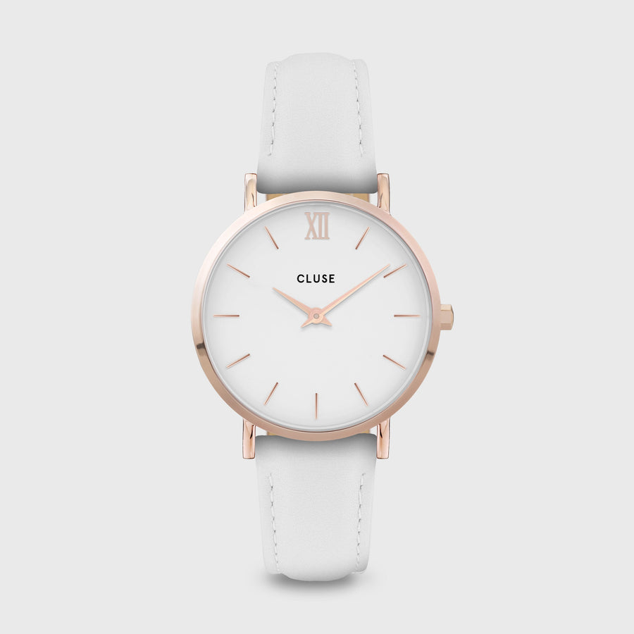 CLUSE Minuit Leather Rose Gold White/White White CW0101203021 - Watch