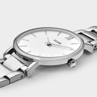 CLUSE Minuit 3-Link Silver White/Silver - Watch case detail