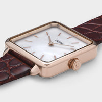CLUSE La Tétragone Leather Rose Gold White Pearl/Dark Red Alligator - Watch case detail