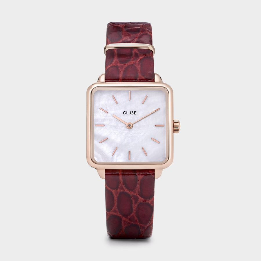 CLUSE La Tétragone Leather Rose Gold White Pearl/Dark Red Alligator - Watch