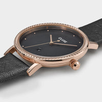 CLUSE Le Couronnement Leather Rose Gold Dark Grey/Dark Grey - Watch case detail