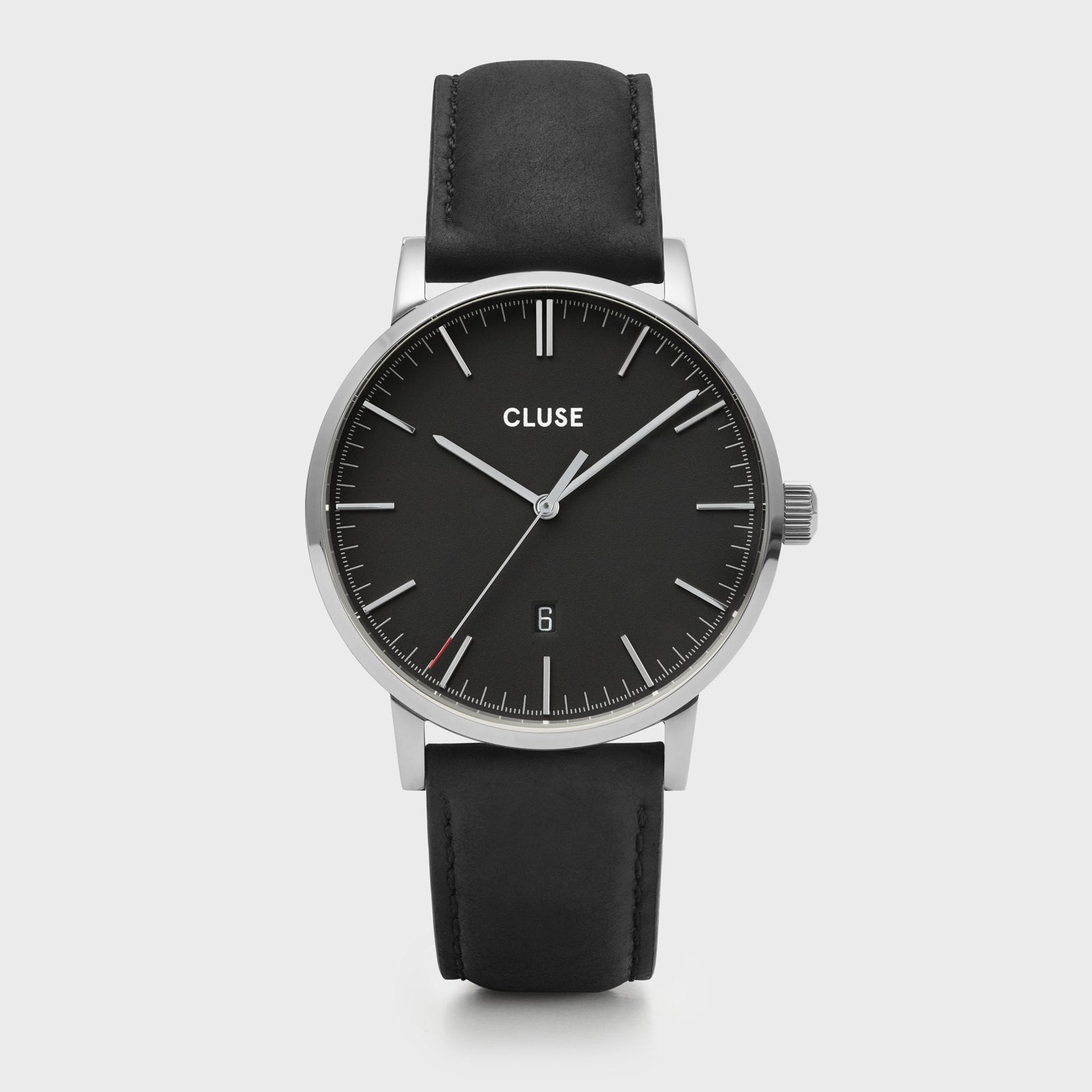 CLUSE Aravis leather silver black/black CW0101501001 - Watch