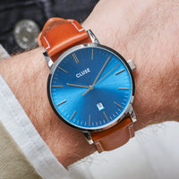 CLUSE Aravis leather silver blue/light brown CW0101501005 - Watch on wrist