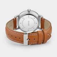 CLUSE Aravis leather silver blue/light brown CW0101501005 - Watch clasp and back